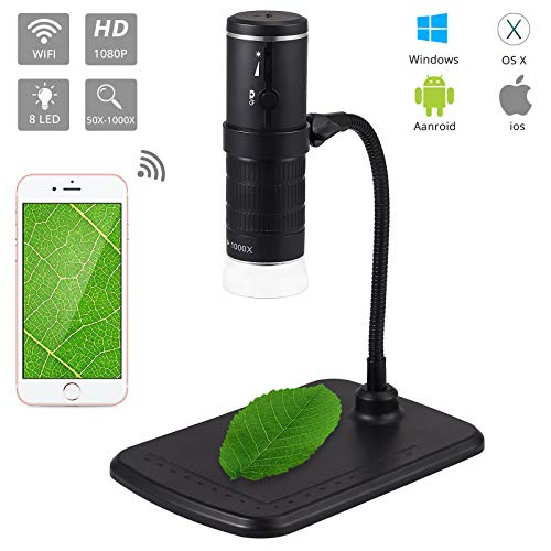 CAMWAY Wireless Digital USB Microscope 50X to 1000X Magnification Microscopy USB Microscope Camera 8 LED Handheld 1920 1080 Resolution Compatible with Android,IOS,Windows,Vista,Mac
