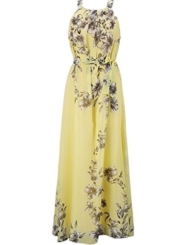 Yougao Women's Chiffon Printed Summer Beach Maxi Dresses Yellow XL