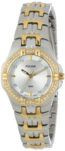 Pulsar Women's PTC388 Crystal Accented Two-Tone Stainless Steel Watch