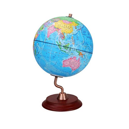 TMY Office Globe European Retro Globe S-Type Metal Frame Chinese and English Bilingual Study Bookshelf Ornaments Office Desktop Home (Color : Blue) ()