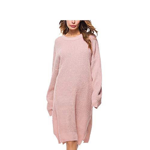 Maglione Elegante Inverno Lungo Vestito Donna Rosa Autunnale Zhrui IqOCawxpC