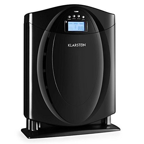 KLARSTEIN Grenoble 4-in-1 Air Purifier with HEPA Filter Switchable Ionizer Allergen, Odors, Smoke, Dust Remover Quiet Operation LCD Display Memory function Black by KLARSTEIN