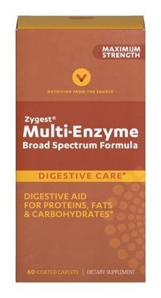 Vitamin World Zygest Multi-Enzyme Broad Spectrum Formula Digestive Aid For Proteins,Fats,& Carbohydrates 60 coated caplets