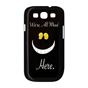 Alice in Wonderland We're all mad here Cheshire Cat Smile Face Unique Durable Hard Plastic Case Cover for Samsung Galaxy S3 I9300 Custom Design Fashion DIY