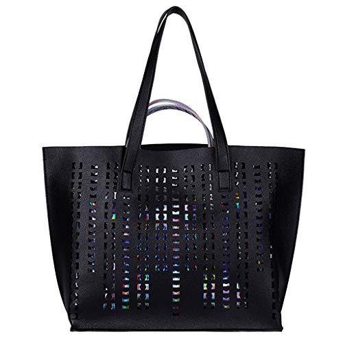 DDKK bags Spring Deals! Fashion School Bag Backpack with Florescent 2 Pcs-Women Hollow Solid Color Shoulder Bag Handbag Tote+Small Handbag-Classic Water Resistant School Backpack Fits 14Inch Laptop
