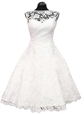 Lantesi Women's Short Lace Wedding Dress Bride Party Gown
