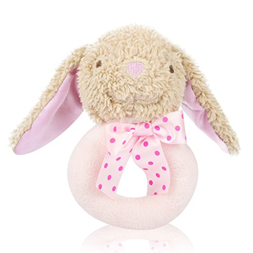 Tumama Pink Baby Girl Bunny Rattle,Newborn Infant Baby Handbell Made of High-elastic PP Cotton, Suitble for 6-12 Months Baby