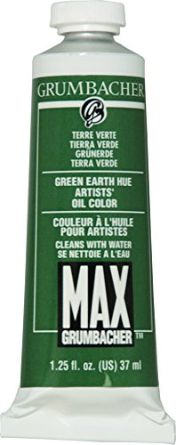 Grumbacher Max Water Miscible Oil Paint, 37ml/1.25 oz, Green Earth Hue (Terre Verte)