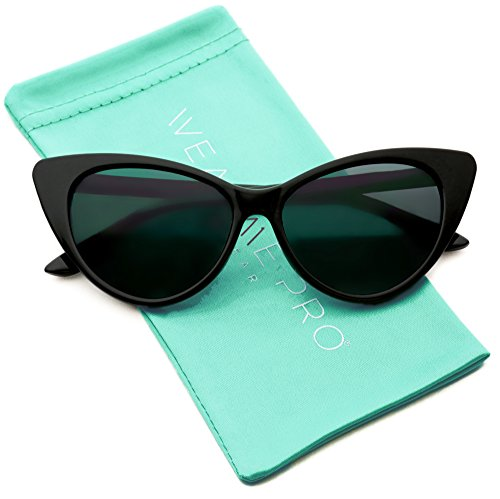 Vintage Inspired Fashion Mod Chic High Pointed Cat Eye Sunglasses for Women (Black Frame/Black ()