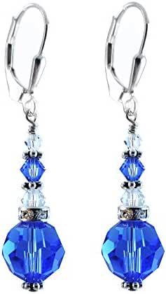 10mm Sapphire Colored, Blue Earrings made with Swarovski crystal Elements. Sterling Silver Lever-back.