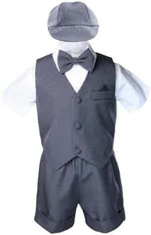 Baby & Toddler Clothing 7pc Baby Boy & Toddler Formal Vest Shorts Gray Suit Extra Vest Bow Tie Set S-4T
