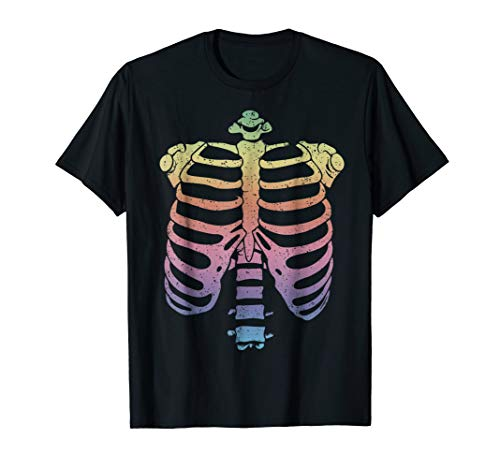 Halloween Skeleton Rib Cage T-Shirt Zombie Costume Tee Shirt -