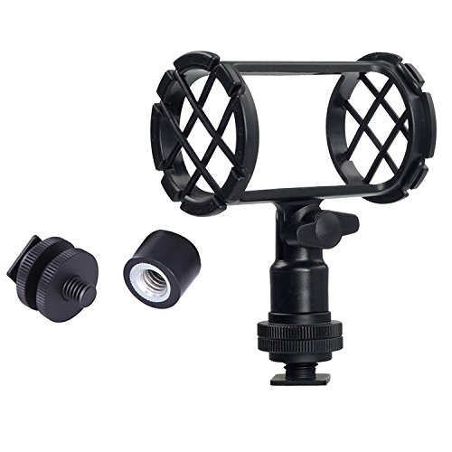 Microphone Shockmount Universal Holder Clip with Hot Shoe Mount Compatible with Shotgun Microphone AKG D230 Sennheiser MKH-416 ME66 Rode NTG-2 NTG-1 Audio-Technica AT-875R