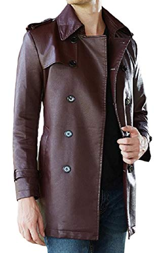 Pu Breasted Long Plus Mogogo Md Fit Mens Jacket Leather Solid Double Velvet 1 Slim pWqwUvF