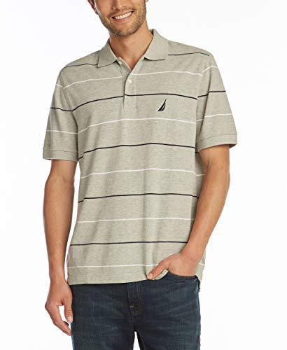 Shirt Mens Stripe Classic (Nautica Men's Classic Fit Short Sleeve 100% Cotton Pique Stripe Polo Shirt, Grey Heather, Large)