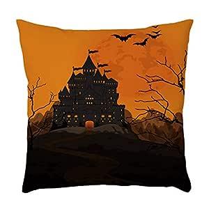 YWLINK Funda De Almohada De Lino Halloween Calabaza Fantasmas ...