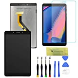 LCD Screen Replacement and Digitizer Full Assembly for Samsung Galaxy Tab A 8.0 (2019) SM-T295 with Tempered Glass Screen Protector with Free Tool (Black) (Color: Black, Tamaño: 8.0)