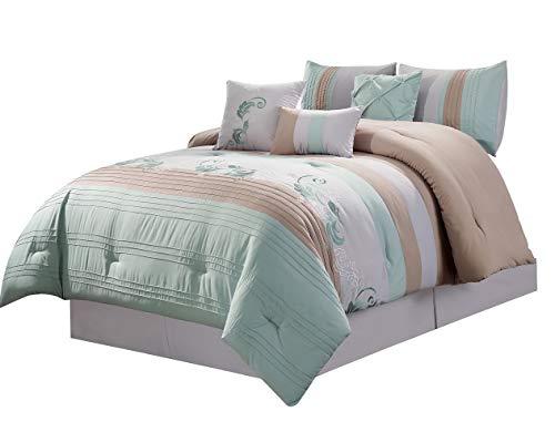 - Hemau Premium New Soft Napa 7-Piece Luxury Leaves Scroll Embroidery Bedding Comforter Set (California King, Green/Beige/Light Gray) | Style 503194411