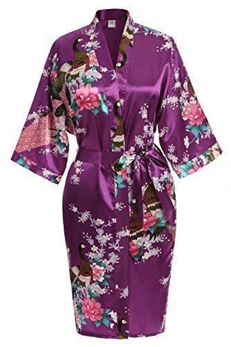 USDisc't Elegant Women's Kimono Robe for Parties Bridal and Bridesmaid Short (XL, Purple)
