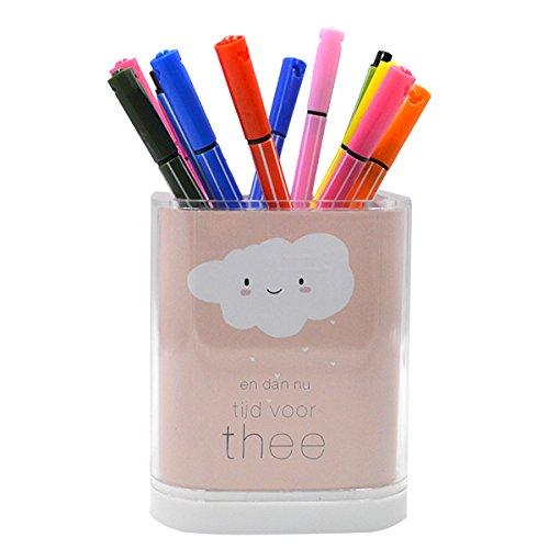 Clara Vase - CLARA School Office Home Desk Pencil Holder Candy Color Table Storage Box Square Brush Pot(Pink)