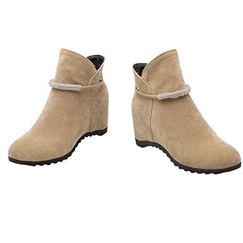 on Wedge Autumn Boots with AIYOUMEI Women's Beige Increased Ankle Internal Rhinestones Winter Slip Bootie wEAqXZ