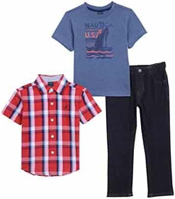 Nautica Boys' Short Sleeve Button up, Tee and Denim Pant Set