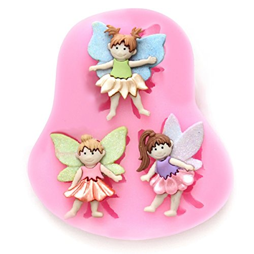 (ELINKA 3 Small Fairy Wizard Angel Silicone Candy Chocolate Clay Gumpaste Sugar Craft Fondant Mold Cake Decorating Molds )