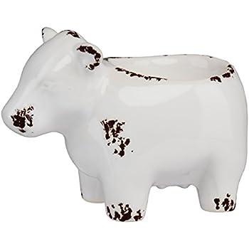 PRINZ Farmhouse Cow Tea Light Holder, White