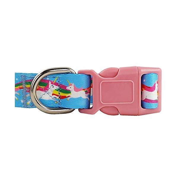 Bestbuddy Pet Unicorns and Rainbows Blue Fairytale Durable Nylon Designer Fashion Dog Collar Trendy Comfortable… 5