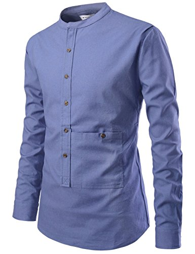 NEARKIN NKNKS831 Mens Slim Cut Look Henley Neck Chinese Collar Cotton Shirts DUSKNAVY US XXXL(Tag Size 3XL)