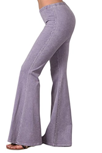 Low Rise Trouser Flare Jean - Zoozie LA Women's Bell Bottoms Yoga Stretch Pants Denim Lilac Small