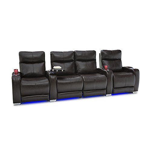 Seatcraft Solstice Leather Home Theater Seating with Power Lumbar, Recline, and Headrest (Row of 4 Loveseat, Brown)