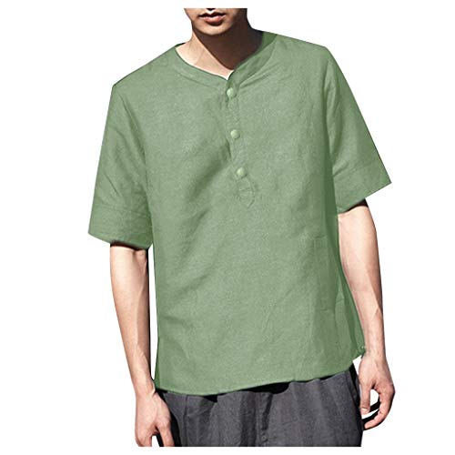 LUXISDE Men Tops Summer Men's Cool and Thin Breathable Collar Hanging Dyed Gradient Cotton ShirtGreenM