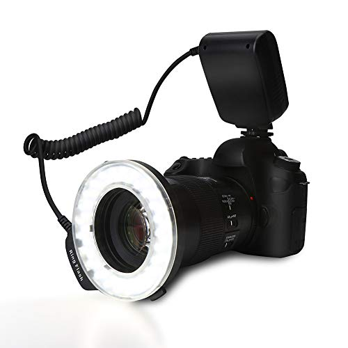 LED Ring Light, Portable LED Ring Flash Battery Operated Fill Light with Color Filters Adapter Photography by Estink