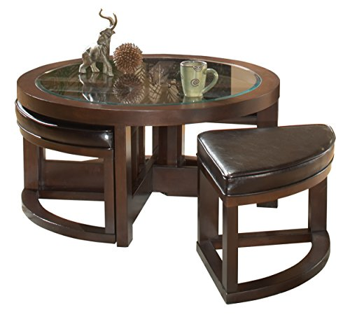 Homelegance Brussel Round Cocktail Table with Ottomans, Espresso