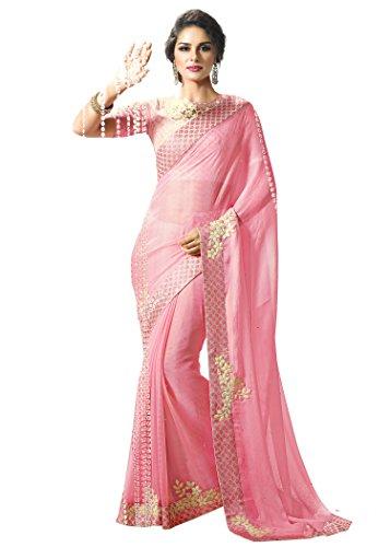Jaanvi Fashion Pink Designer Chiffon Embellished (Pink Saree)
