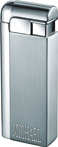 (Personalized Visol Russo Satin Silver Torch Flame Lighter with Laser Engraving)