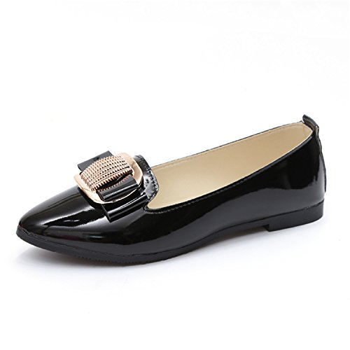 Women Shoes Pu Leather Flat Platform Heels Casual Shoes Pointed Toe Leather Women Loafers Shoes Black (Monster High Dolls Cost)