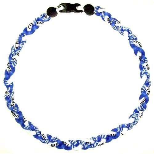 Blue/White Tornado New Sports Ionic Titanium Germanium Baseball Sport Team Style Necklace - Ionic Titanium Tornado Necklace
