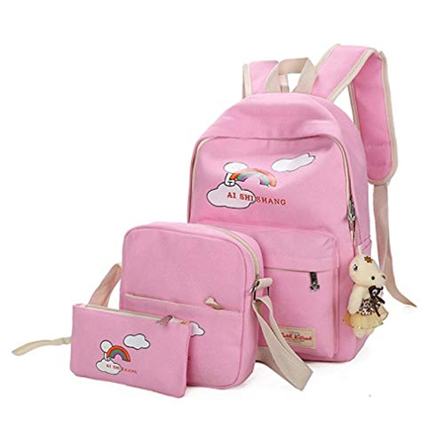 Bear Backpack Light W12cm Girls Cartoon Pink Printing H38cm School Backpacks Rose Pink L29cm 3Pcs Sets TIqnw0q4