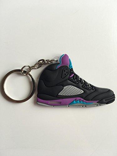 Jordan Retro 5 Black Grape Sneaker Keychain Shoes Keyring AJ 23 OG (Grapes Jordan)
