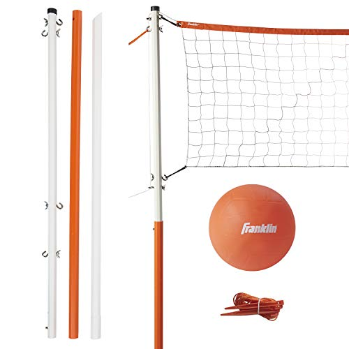 Franklin Sports Volleyball Net Set - Includes Volleyball, Adjustable Net, Stakes, Ball Pump and Ropes - Beach or Backyard Volleyball - Easy Setup