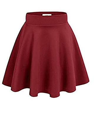 GUVU Womens Basic Versatile Stretchy Flared Skater Skirt