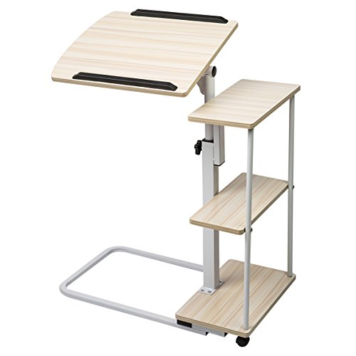 Sdadi Adjustable Overbed Table with Wheels - Light Grain