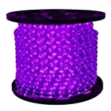 Queens of Christmas C-ROPE-LED-PU-1-10 Spool of LED Rope Light, 150', Purple