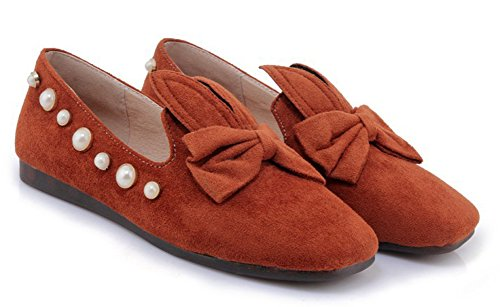 Aisun Womens Cute Comfort Square Toe Low Cut Borchiate Auto Guida Slip On Flats Scarpe Con Fiocchi Marrone