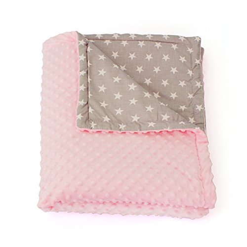 Plush Play Blanket (VINLEA 1buy3 Minky lined baby blanket |plush blanket |play rug |cuddle blanket 29 x 39 inches (Pink and Grey Stars))