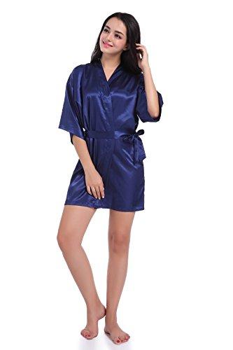 SexyTown Women's Short Satin Lounge Robes Bridesmaids Charmeuse Lingerie Sleepwear(Small,Dark Blue)