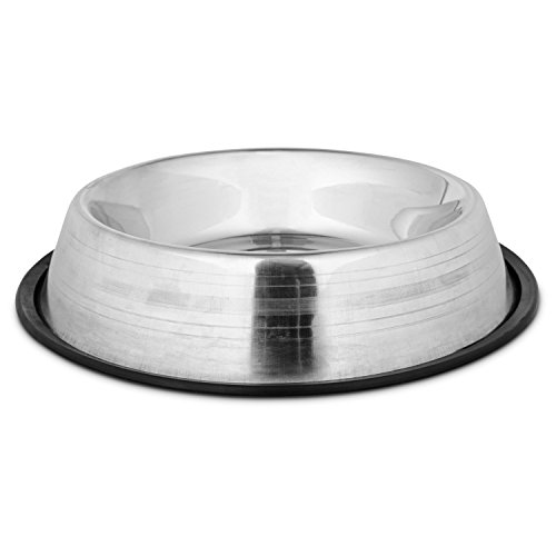 Harmony Two-Toned No-Tip Stainless Steel Dog Bowl, 7 Cup, Large, Gray