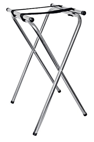 New Star Foodservice 20014 Chrome Plated Double Bar Folding Tray Stand, 38-Inch